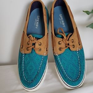 Sperry Bahama Teal Sample Shoes Size 6W